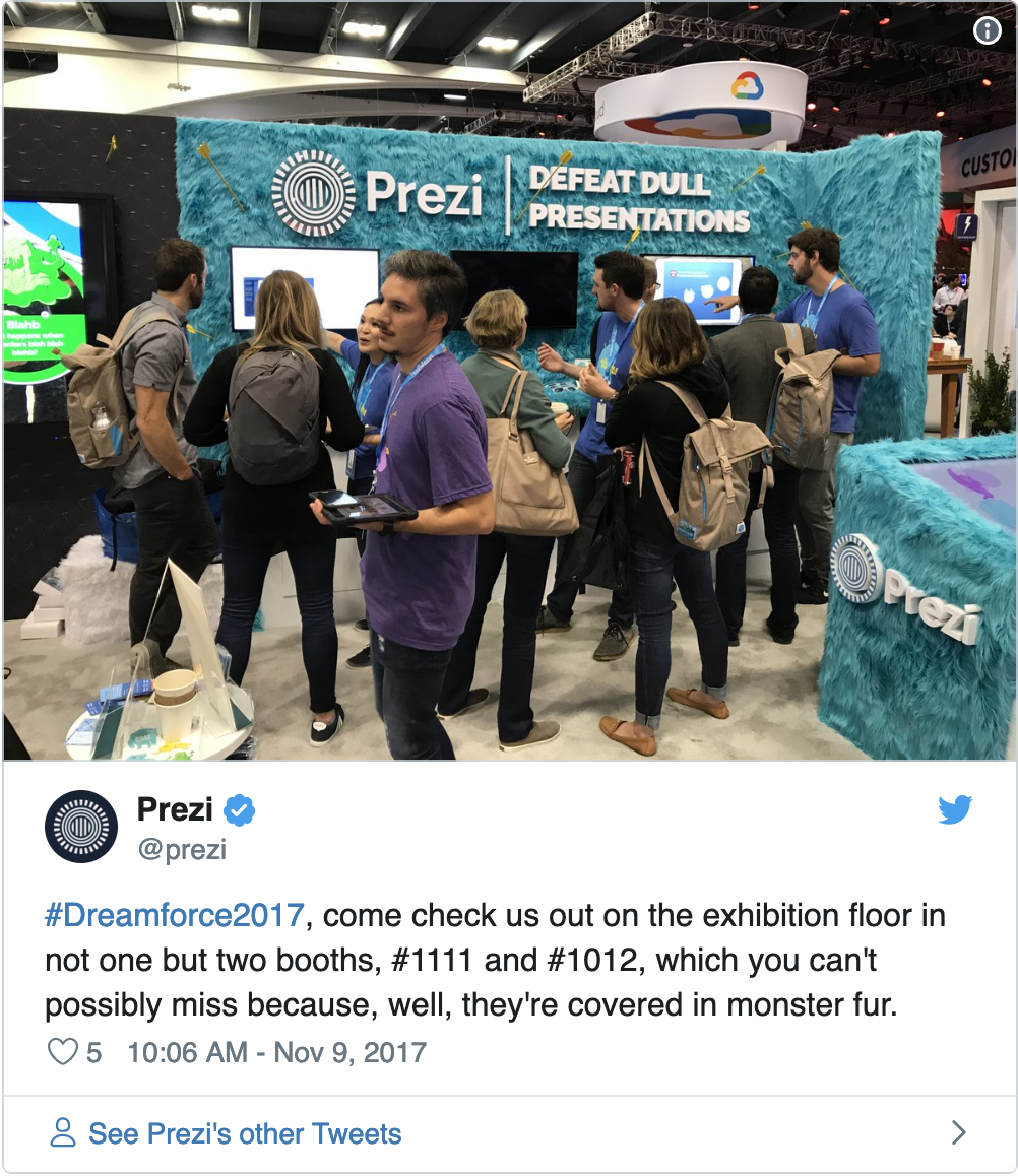 Prezi Dreamforce 2017 booth