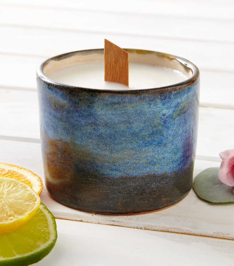Soy Candle with Wooden wick - Blue Ceramic Pot