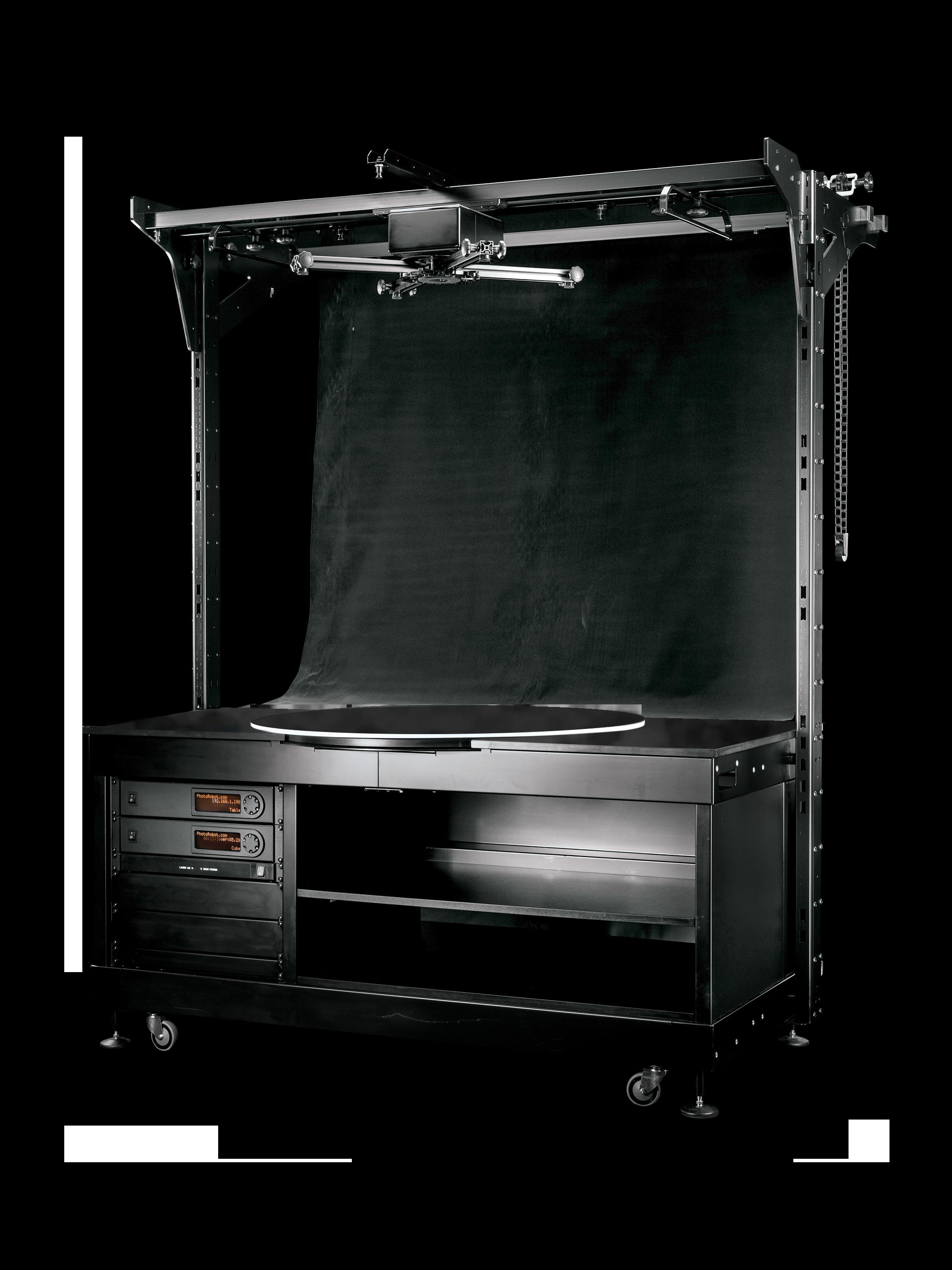 PhotoRobot pöördlauast, mis on paigaldatud koos PhotoRobot CUBE keerukate esemete pildistamiseks
