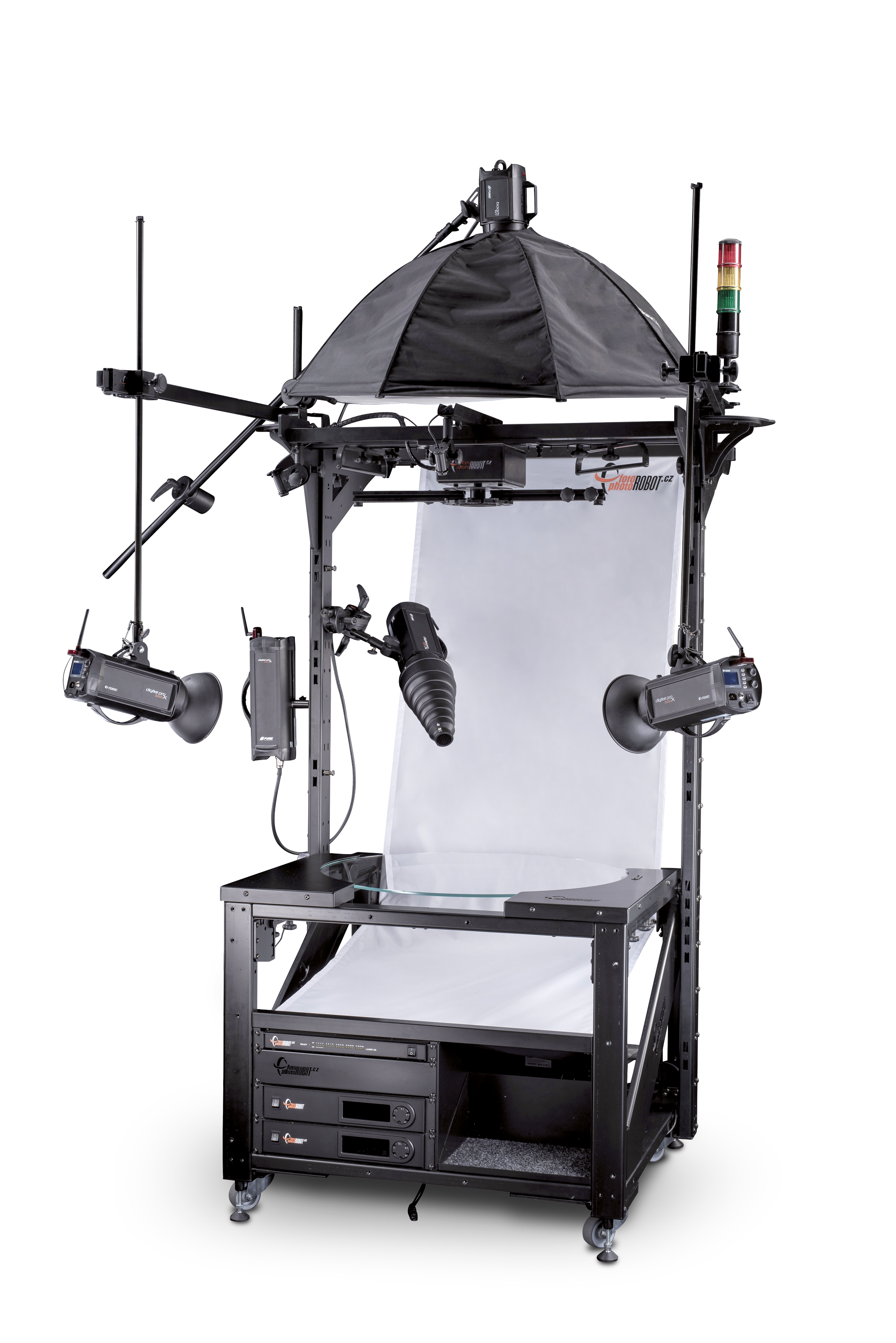 PhotoRobot table en verre avec fond et lumières de studio