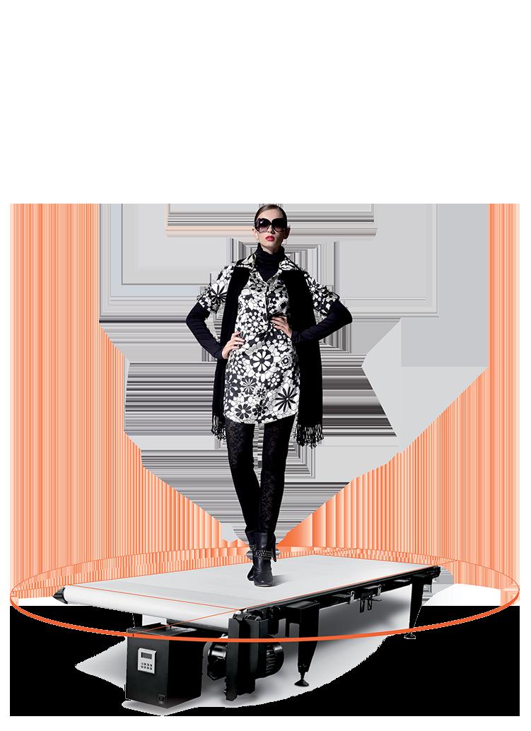 "PhotoRobot Walking Belt - vista parziale - macchina ""nuda"""