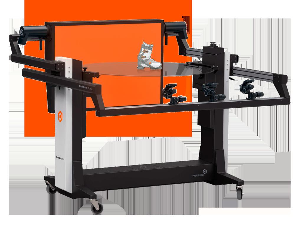 PhotoRobot FRAME with orange background photographing ski shoe