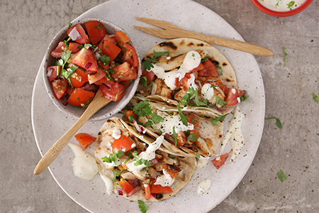 Grilled Fish Tacos with Tomato Salsa & Lime Sour Cream