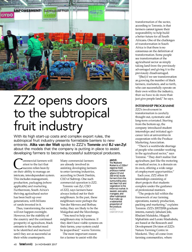ZZ2 opens doors to the subtropical fruit industry