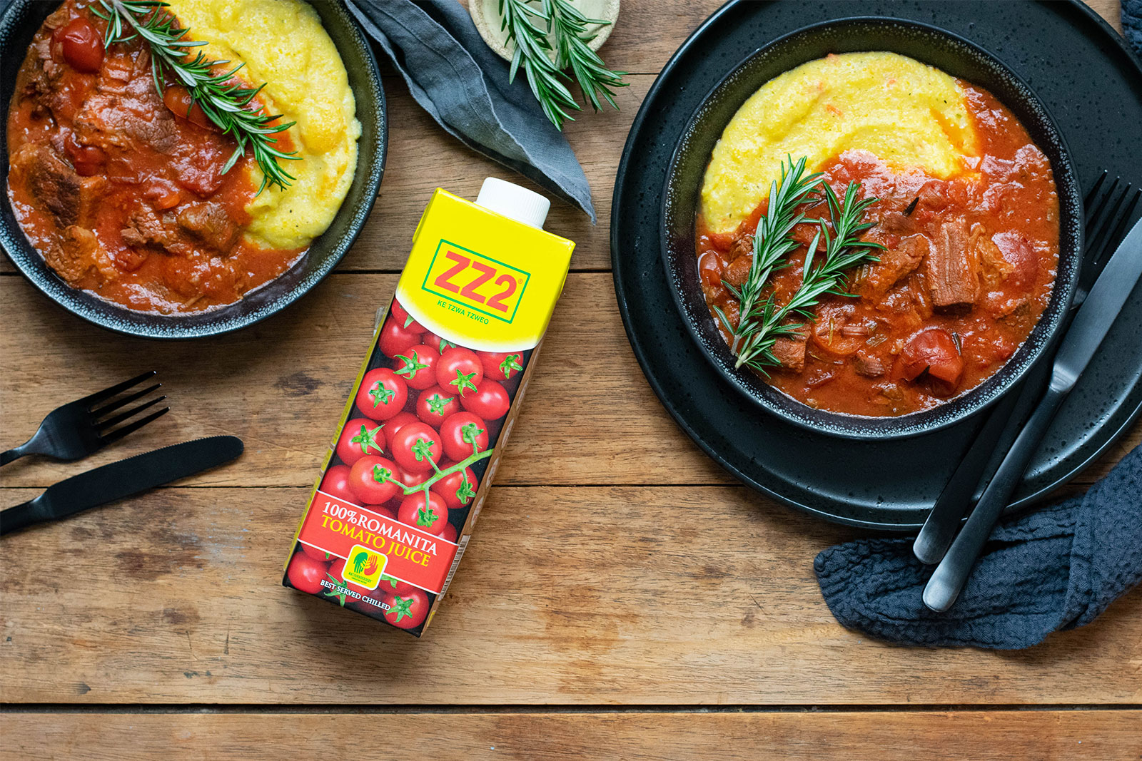Rich Beef and Tomato Stew with Creamy Polenta