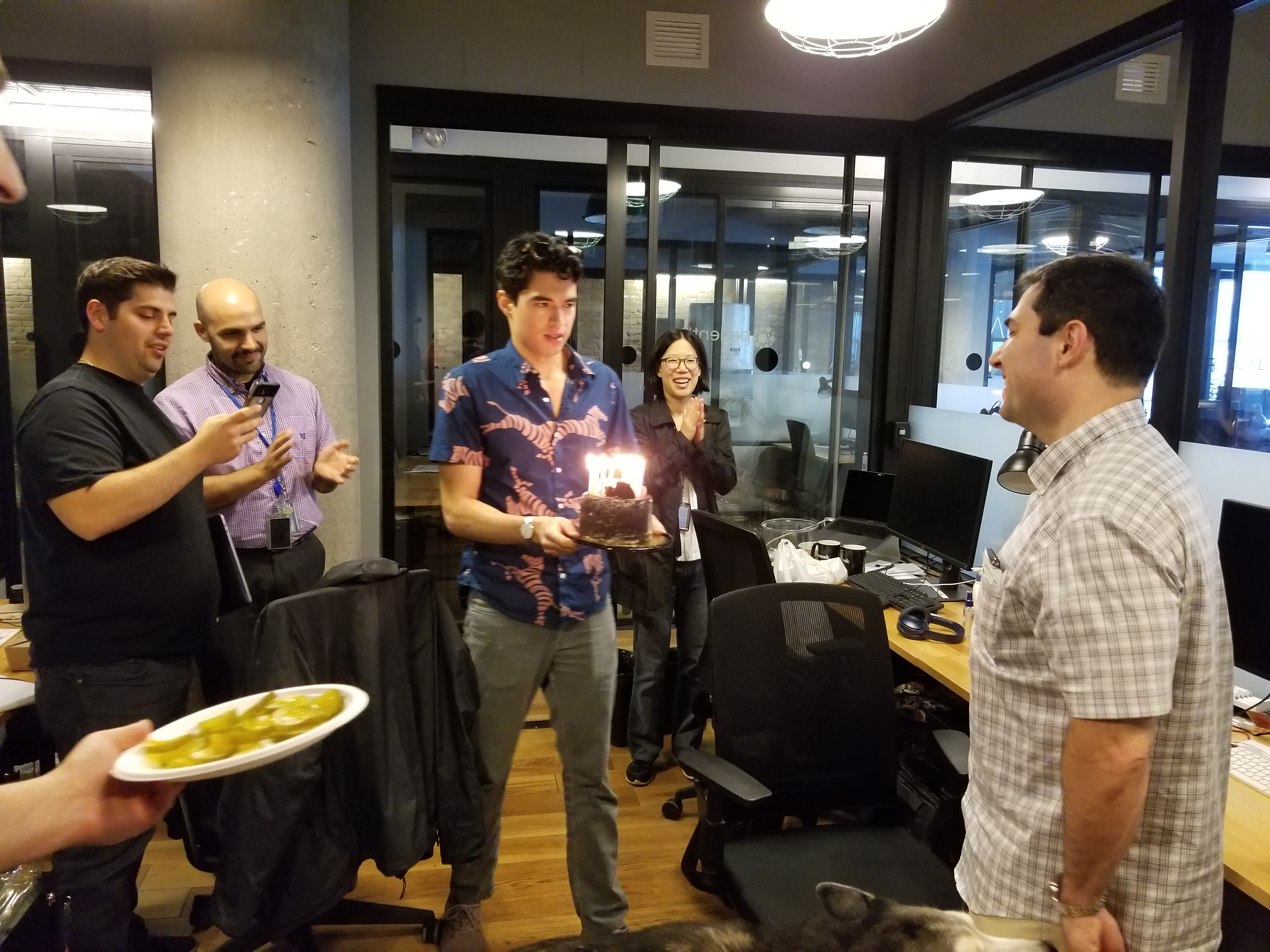 PatientIQ employees celebrating in Chicago office