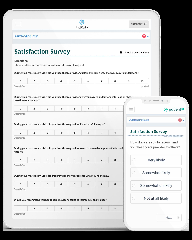 multi device mockup of satisfaction surveys