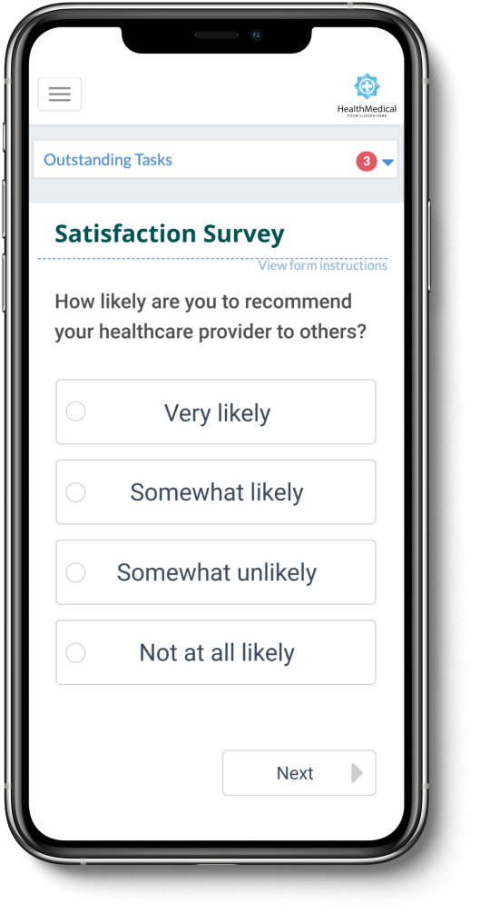 An iPhone 11 Pro Max mockup of PatientIQ's satisfaction survey capabilities.
