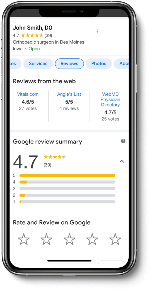 An iPhone 11 Pro Max mockup of a patient leaving a 5-star review of their physician on Google.
