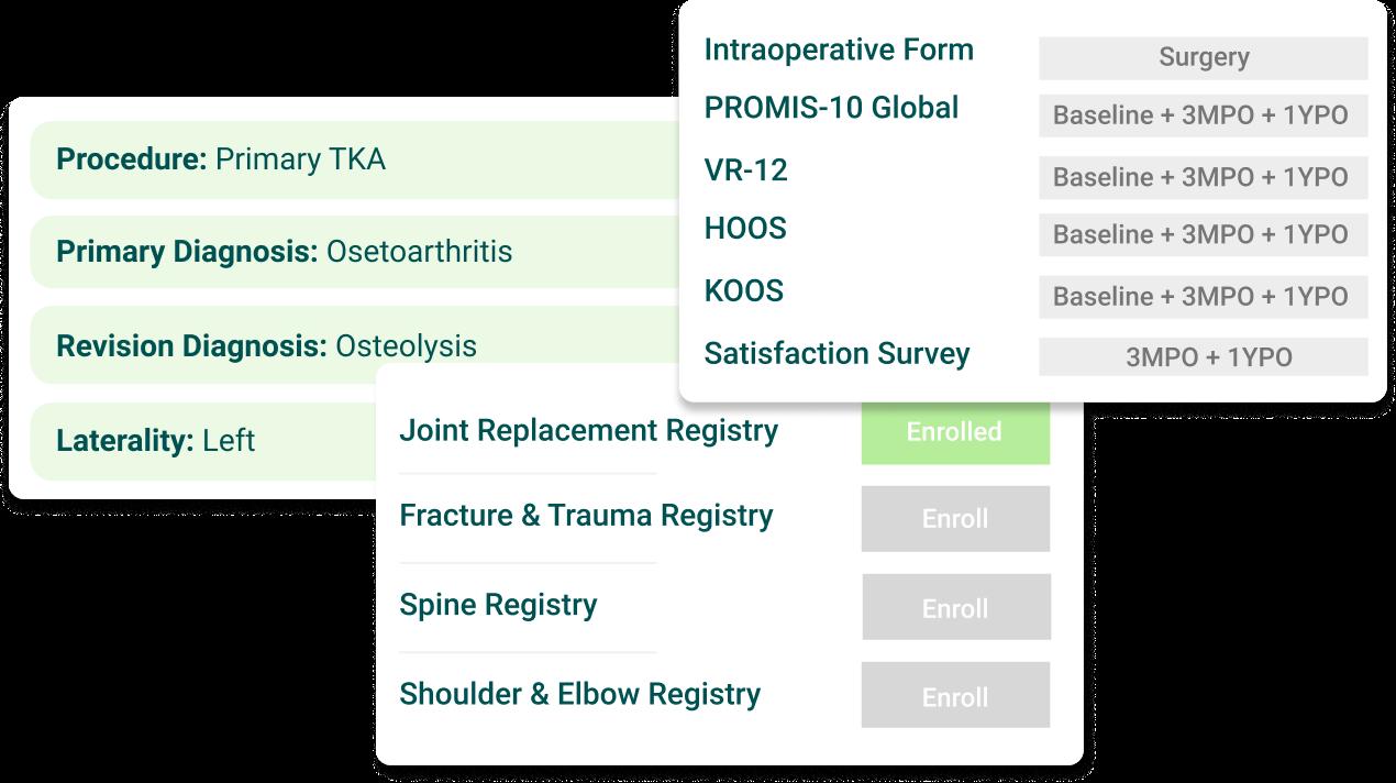 Mockup of PatientIQ's digital care pathways for AAOS Registries