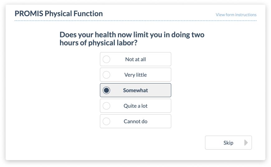 Mockup of PROMIS Physical Function Assessment on PatientIQ