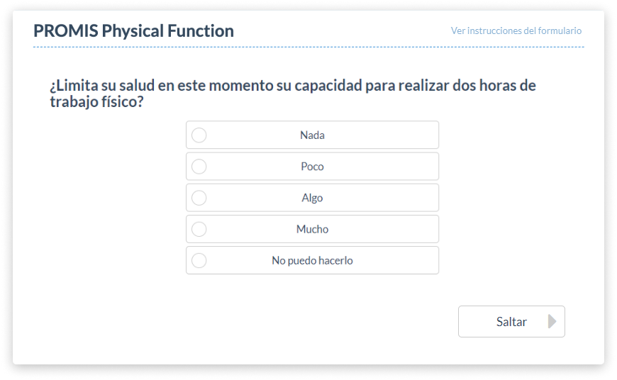 Mockup of PROMIS Physical Function Assessment on PatientIQ in Spanish
