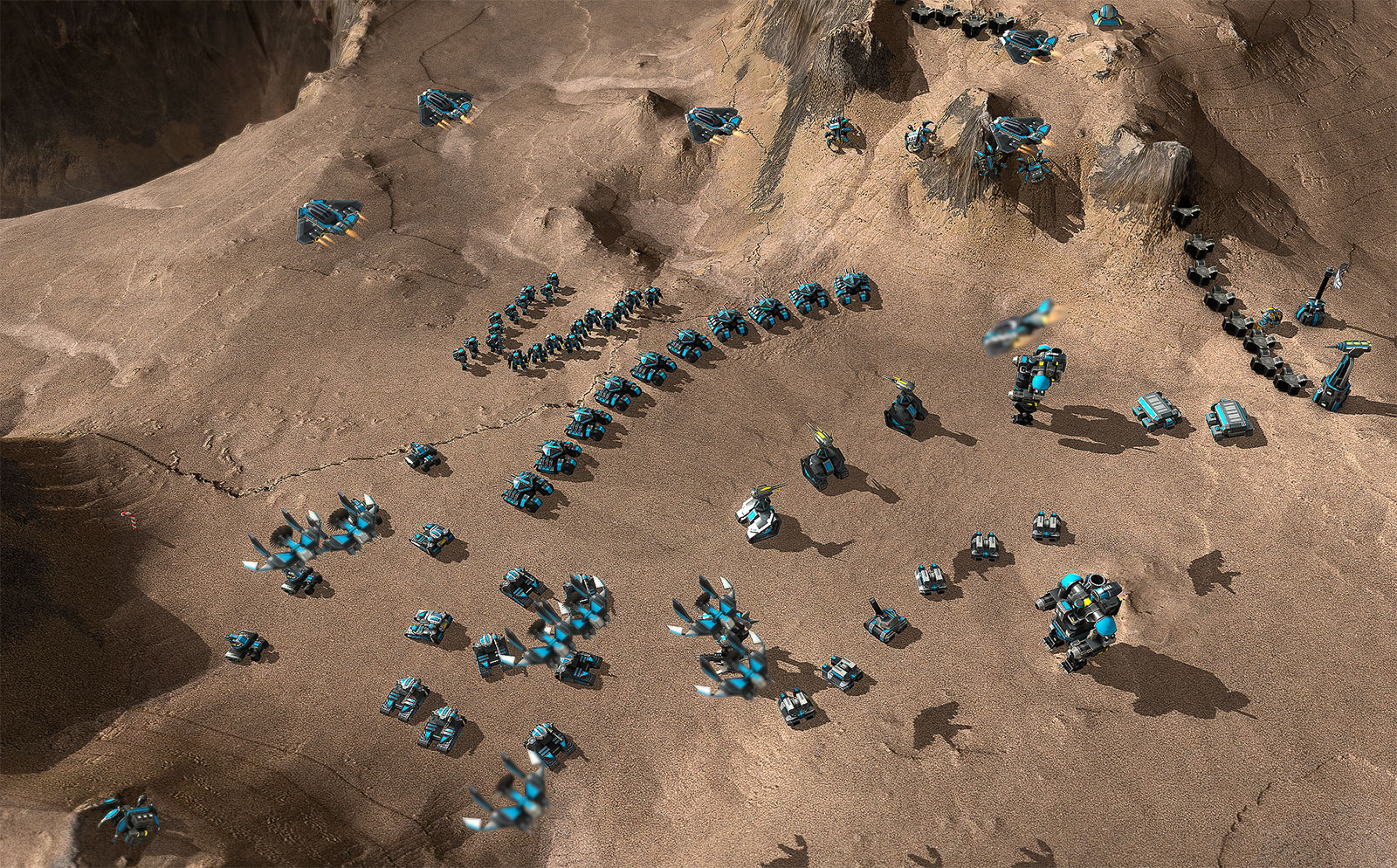 Armada army with lots of different tanks, bots and aircraft