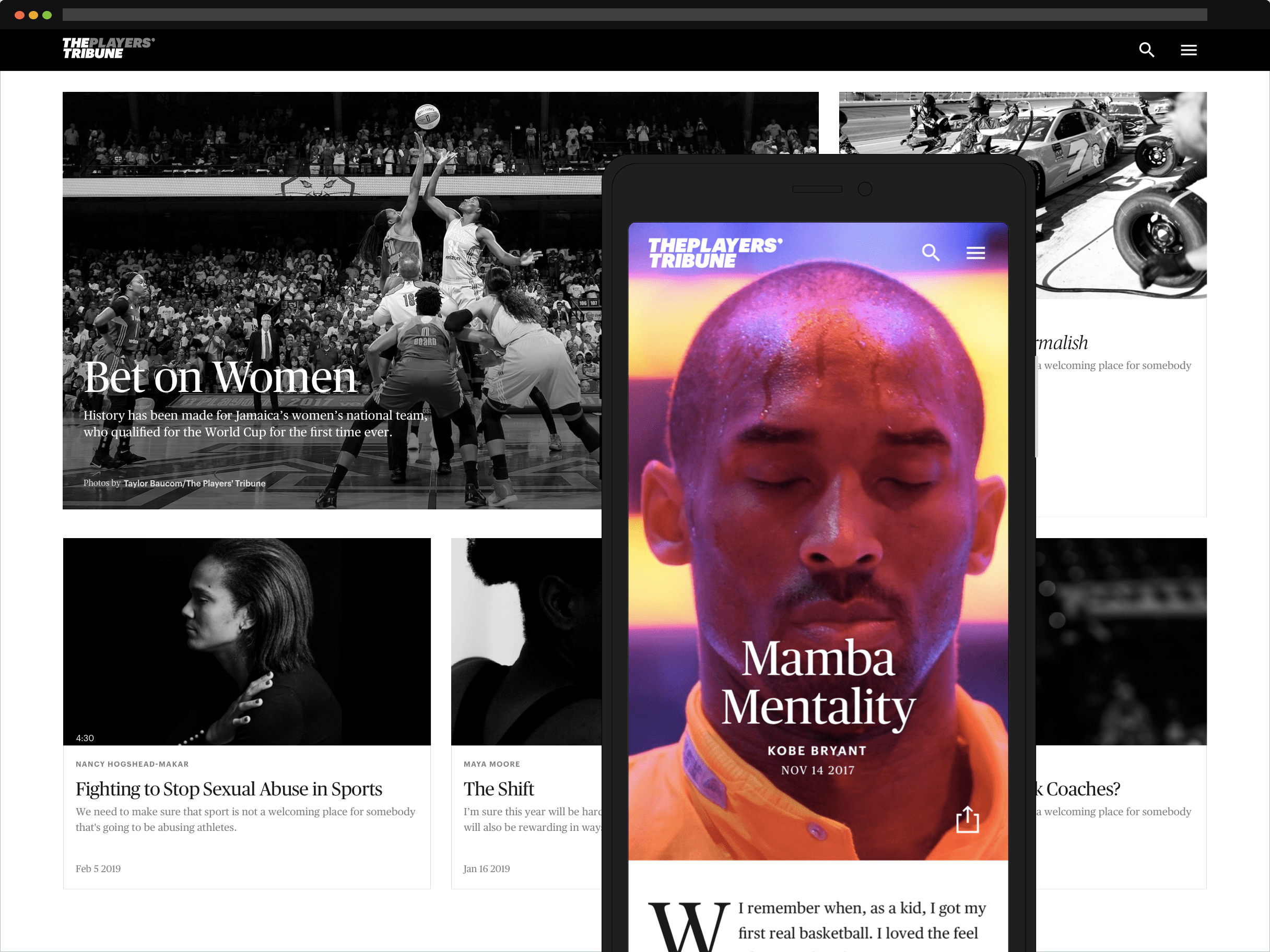 A representation of the Players' Tribune website with a grid of stories featuring photos of prominent athletes including Kobe Bryant.