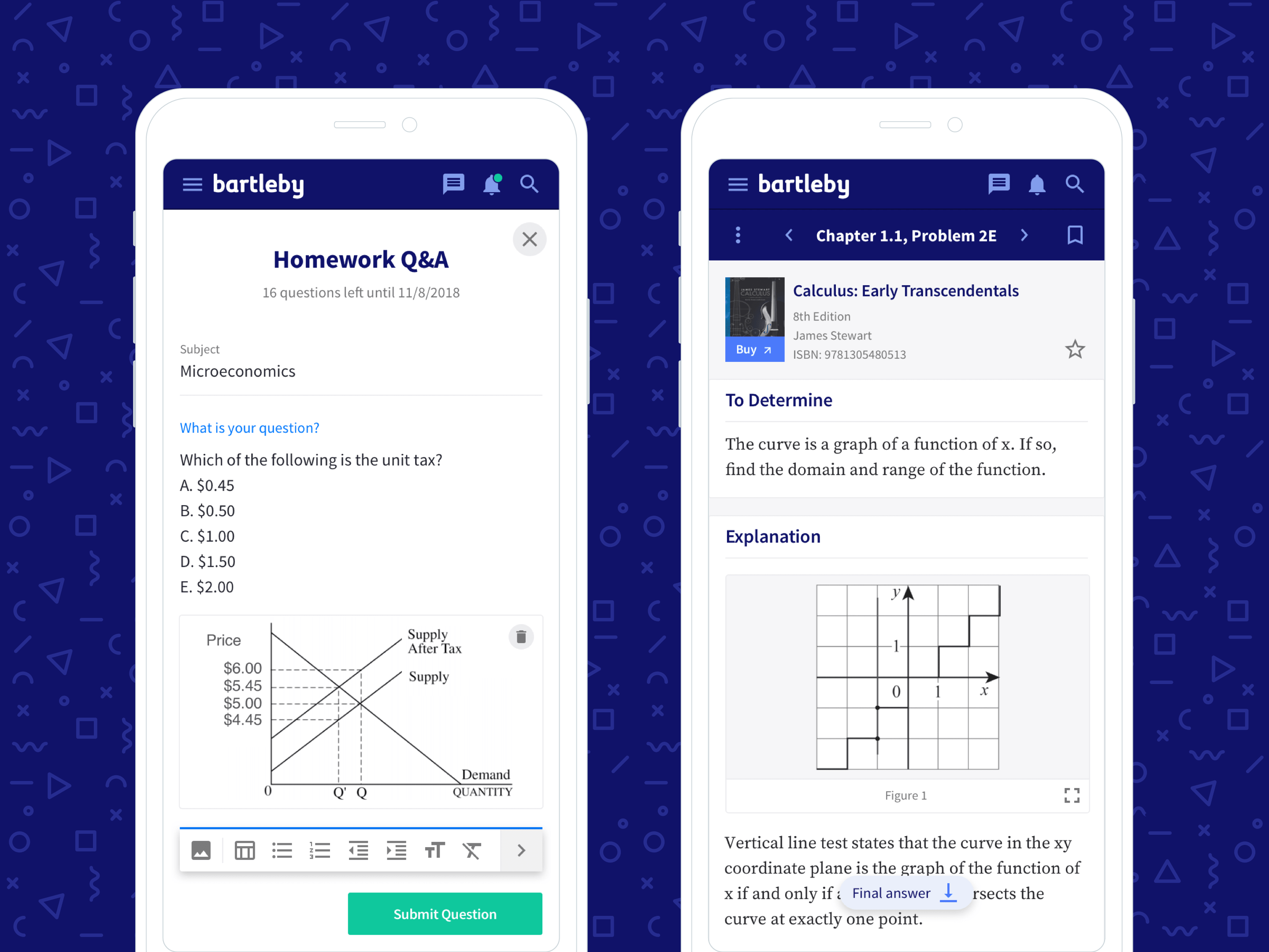 Two screenshots of the bartleby web app in mobile devices; including a homework helper and step-step textbook solution guide.