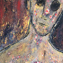 """""""Worried Sick,"""" partial view of painting by Tamara Anna Pawlak"""