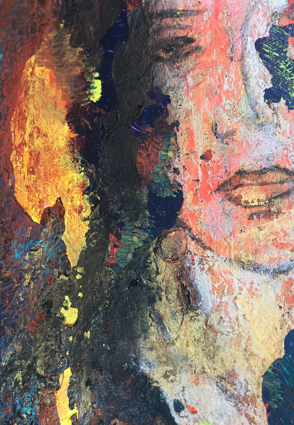 """Close-up 1 of """"In the Garden,"""" painting by Tamara Anna Pawlak"""