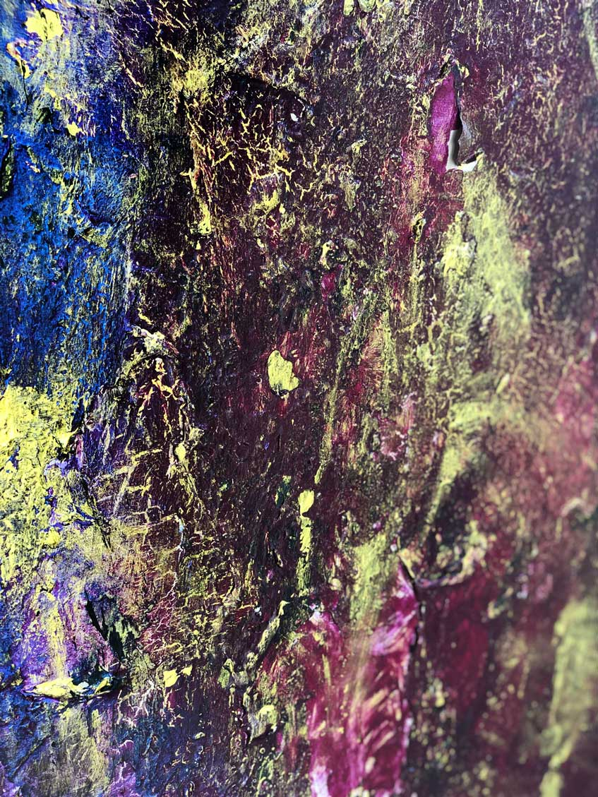 """Close-up 1 of """"Faces,"""" painting by Tamara Anna Pawlak"""
