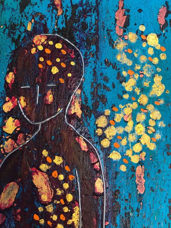 "Close-up 2 of ""Emmanuel,"" painting by Tamara Anna Pawlak"