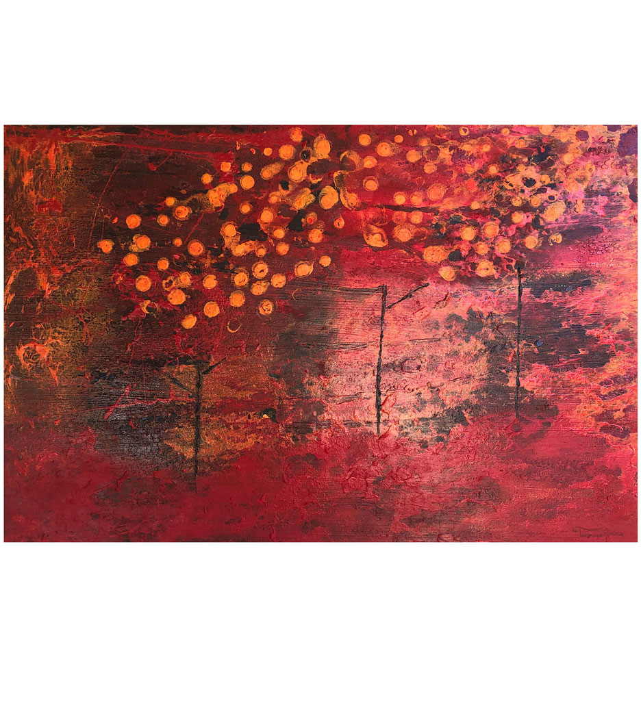"""""""Red Orchard,"""" painting by Tamara Anna Pawlak"""