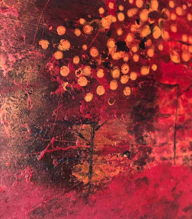 """Close-up 1 of """"Red Orchard,"""" painting by Tamara Anna Pawlak"""