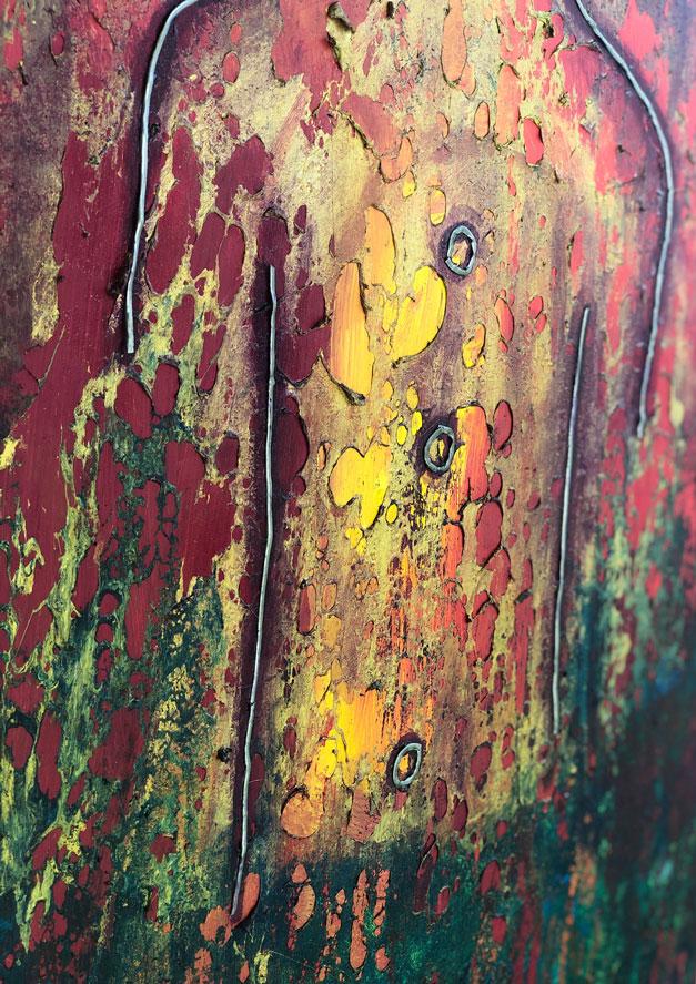 "Close-up 1 of ""Sun King,"" painting by Tamara Anna Pawlak"
