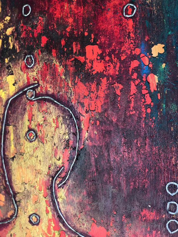 "Close-up 2 of ""Sun King,"" painting by Tamara Anna Pawlak"