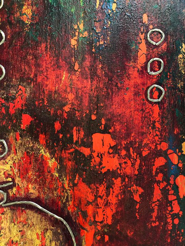 "Close-up 3 of ""Sun King,"" painting by Tamara Anna Pawlak"