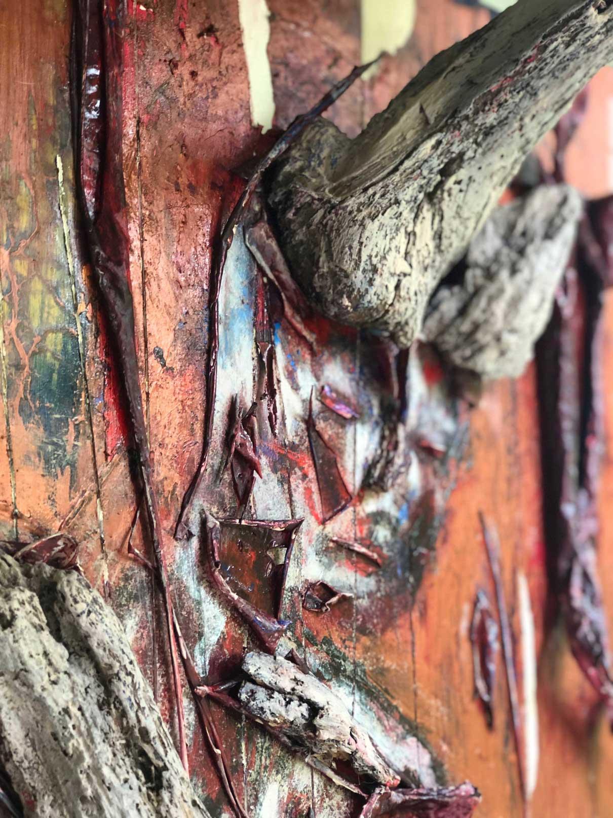 "Close-up 1 of ""Flesh and Bone"" painting by Tamara Anna Pawlak"
