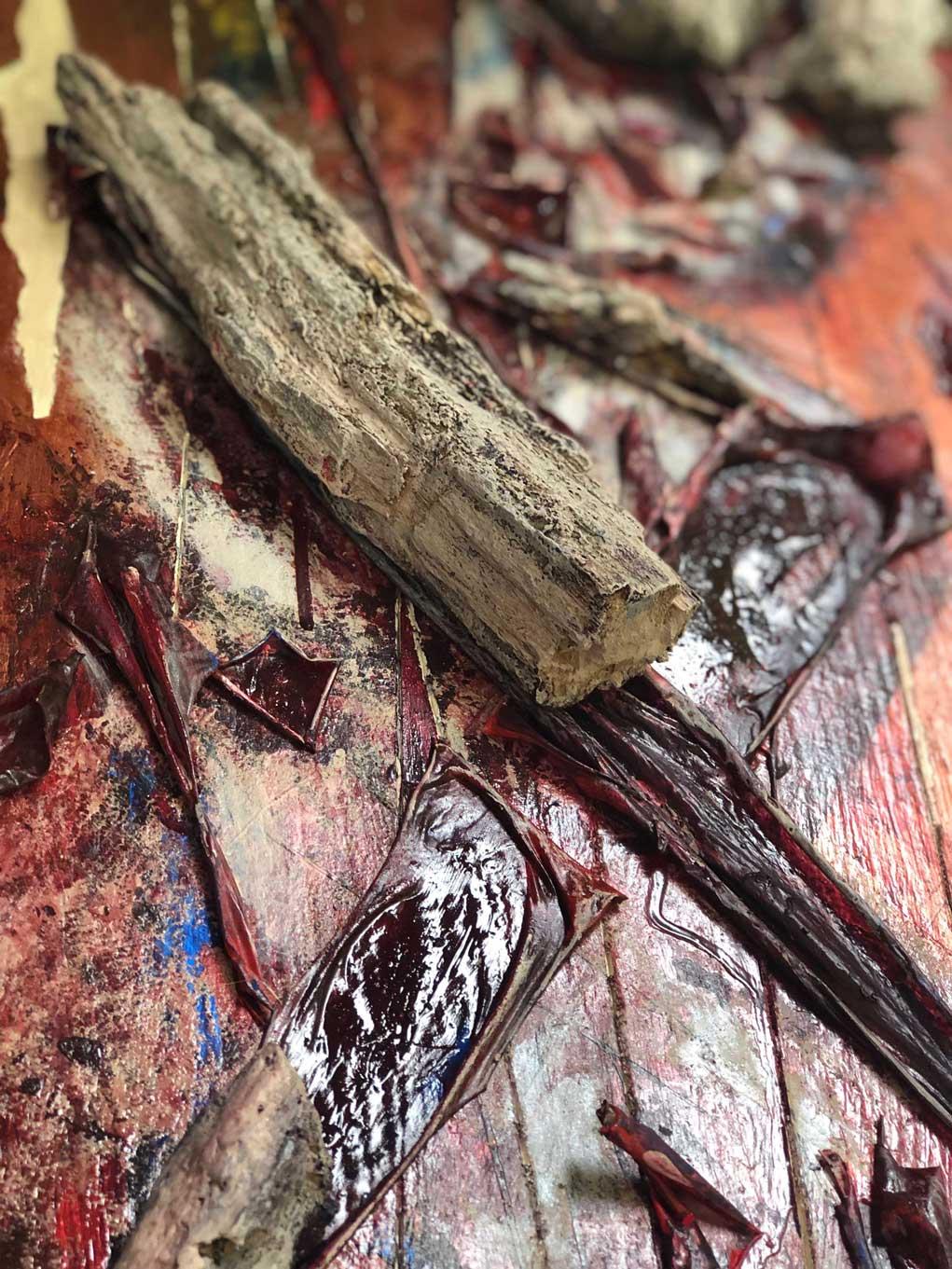 "Close-up 2 of ""Flesh and Bone"" painting by Tamara Anna Pawlak"