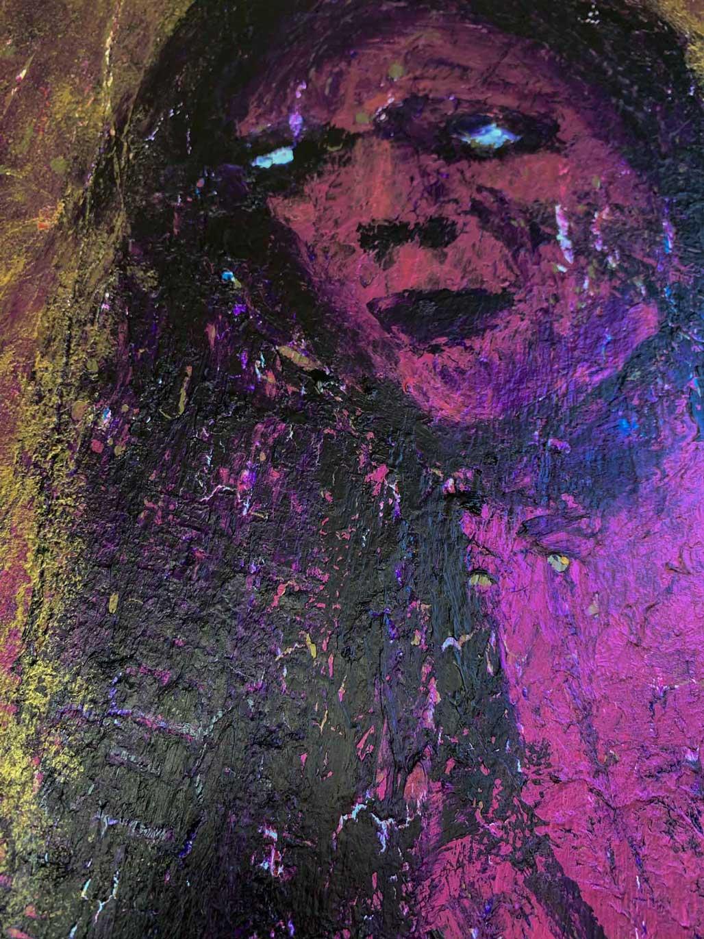 "Close-up 2 of ""Nightingale,"" painting by Tamara Anna Pawlak"