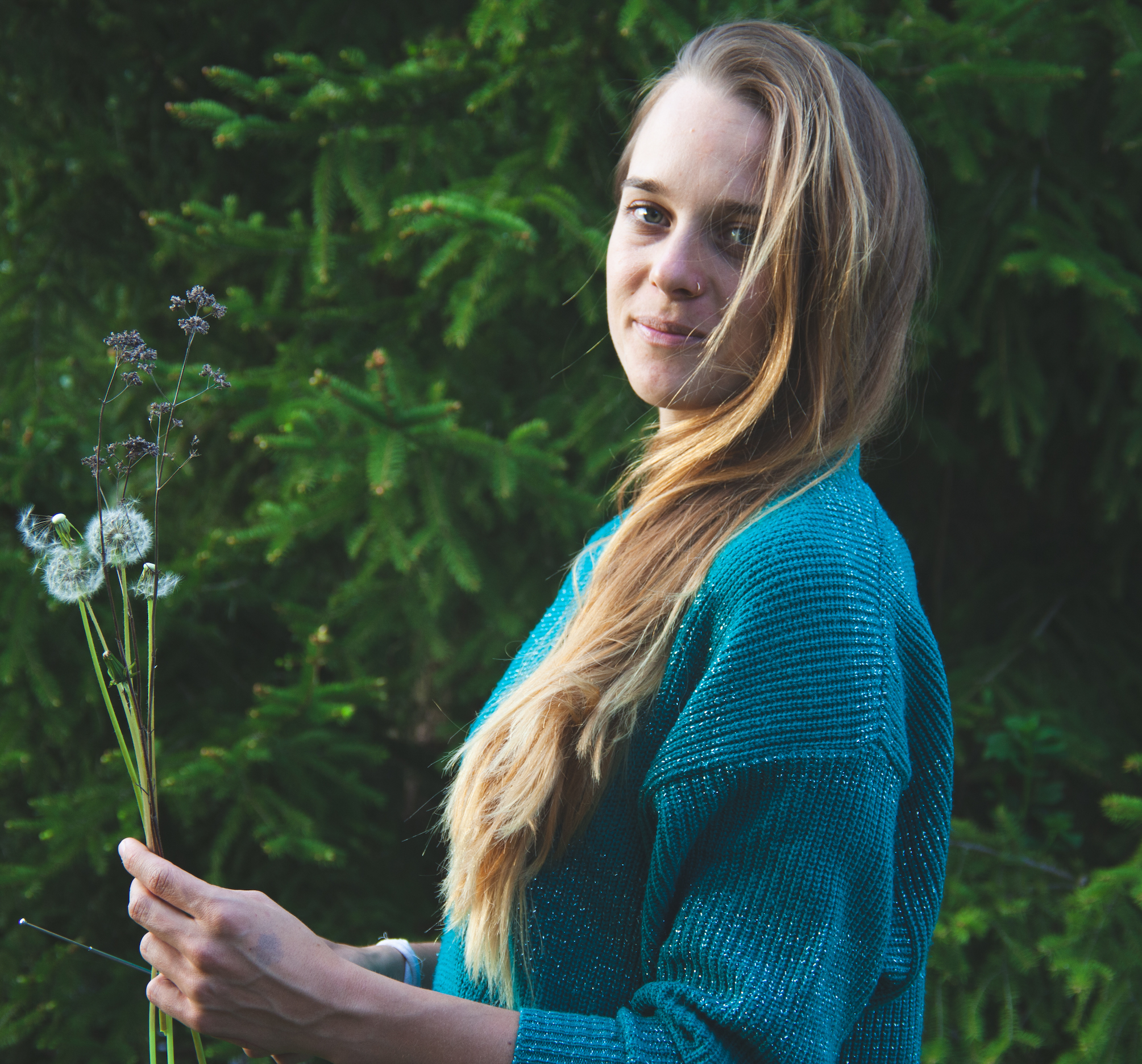 Rebecca foraging