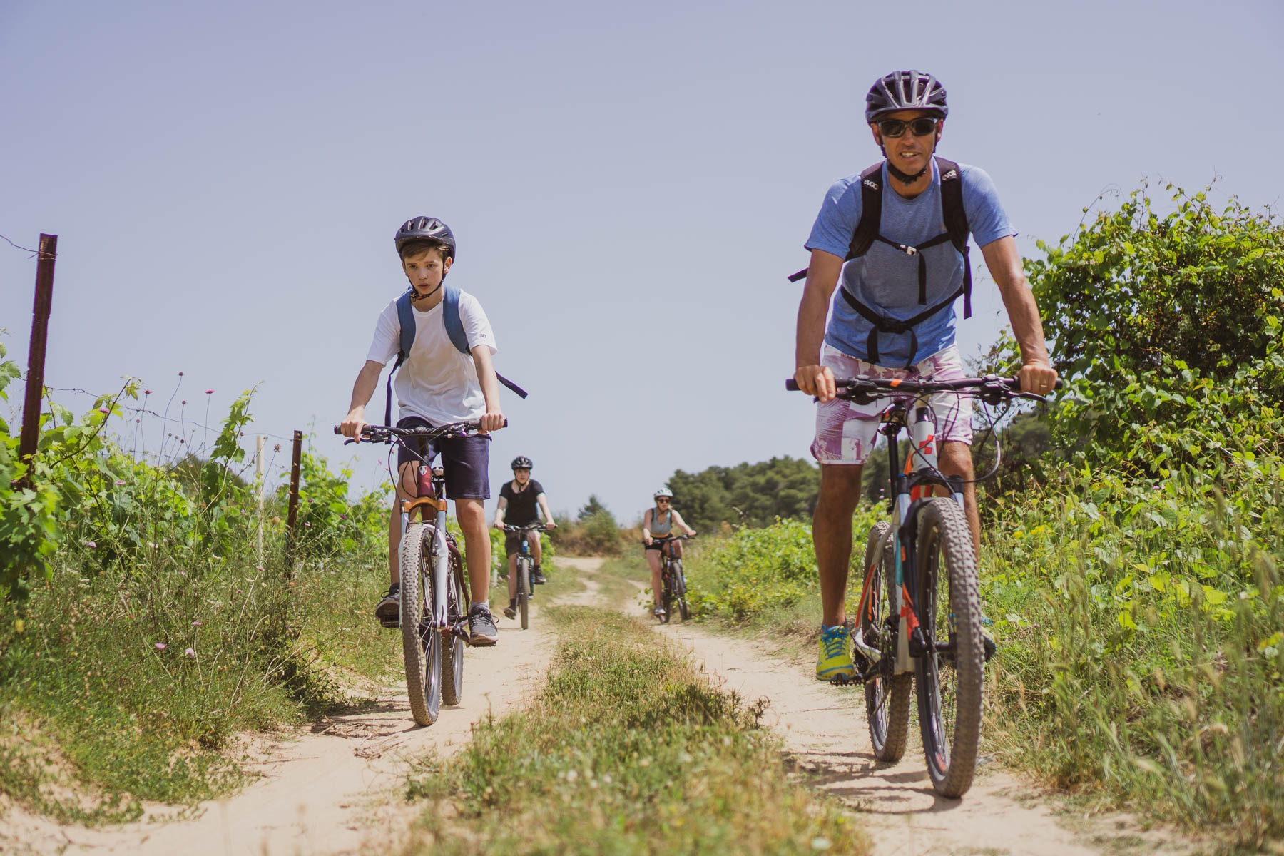 Family cycling on Vis island