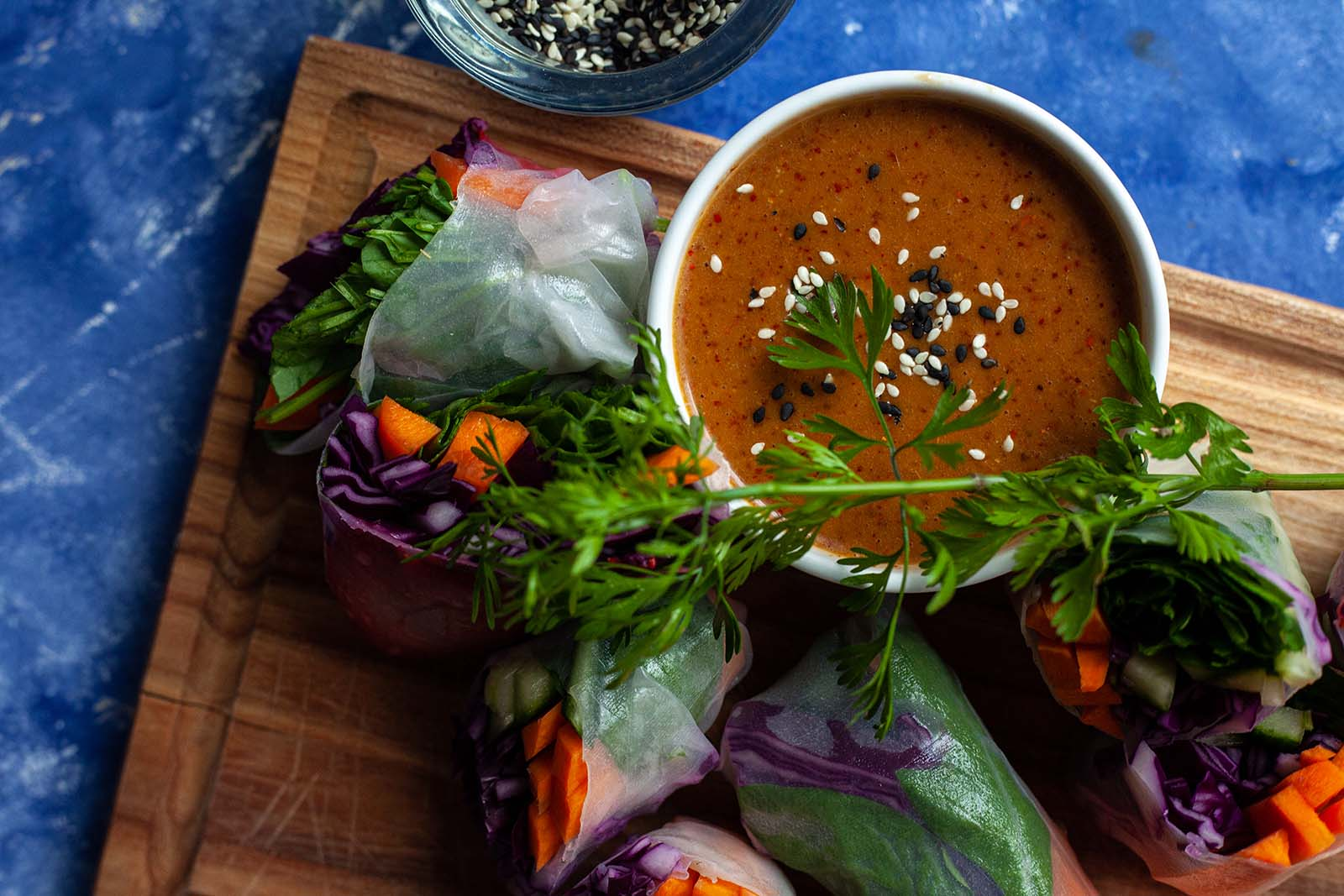 Vegan spring rolls with Alpine herbs