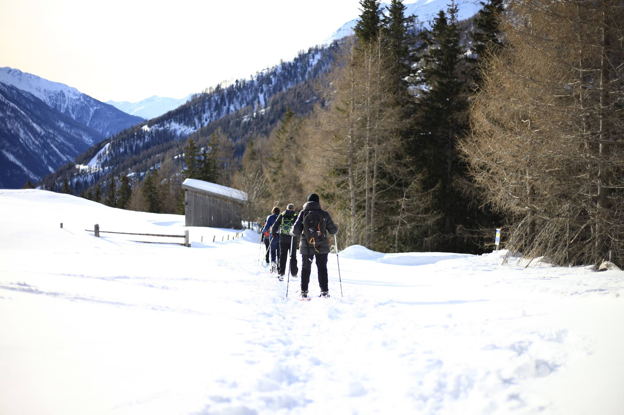 Family winter hiking in Austria