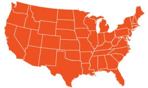 United States map orange