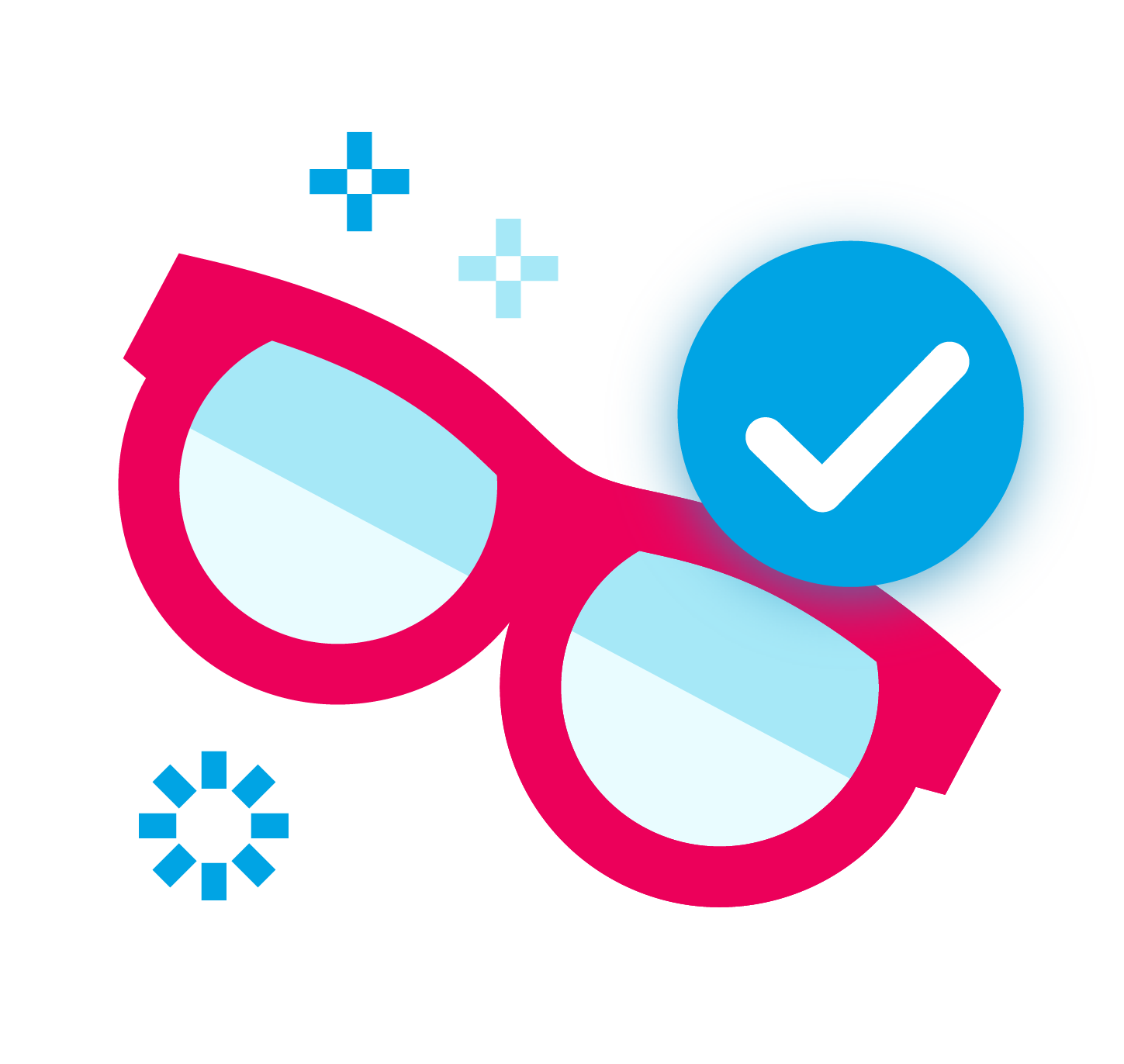 Stylized icon of a pair of glasses