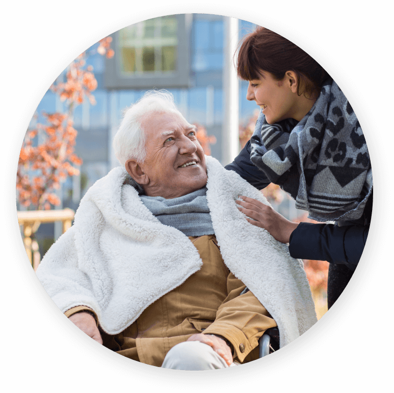 Man and caregiver