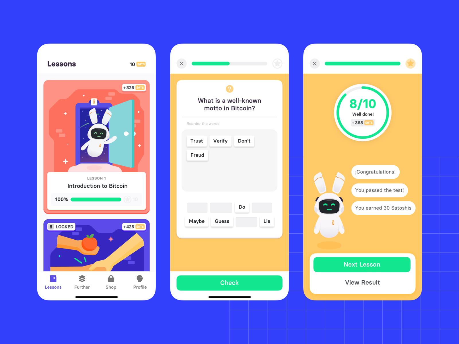 Z1 - Bitcoin Lessons app. Three screens.