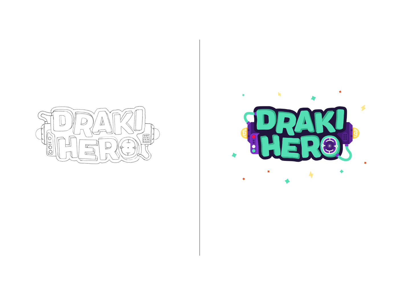 Draft and final version of Draki Hero's logo.