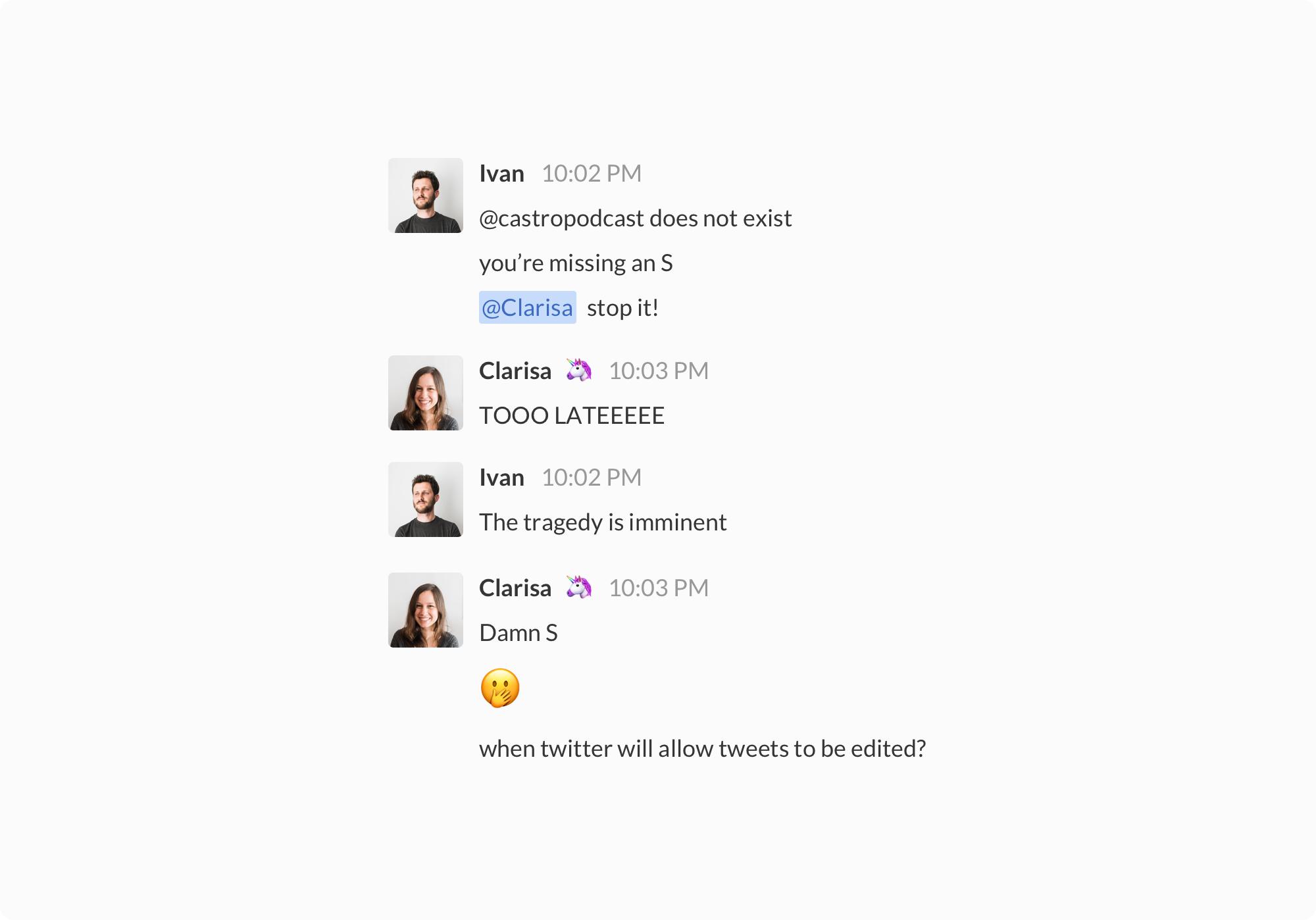 Z1 - Slack conversation about Sneak.
