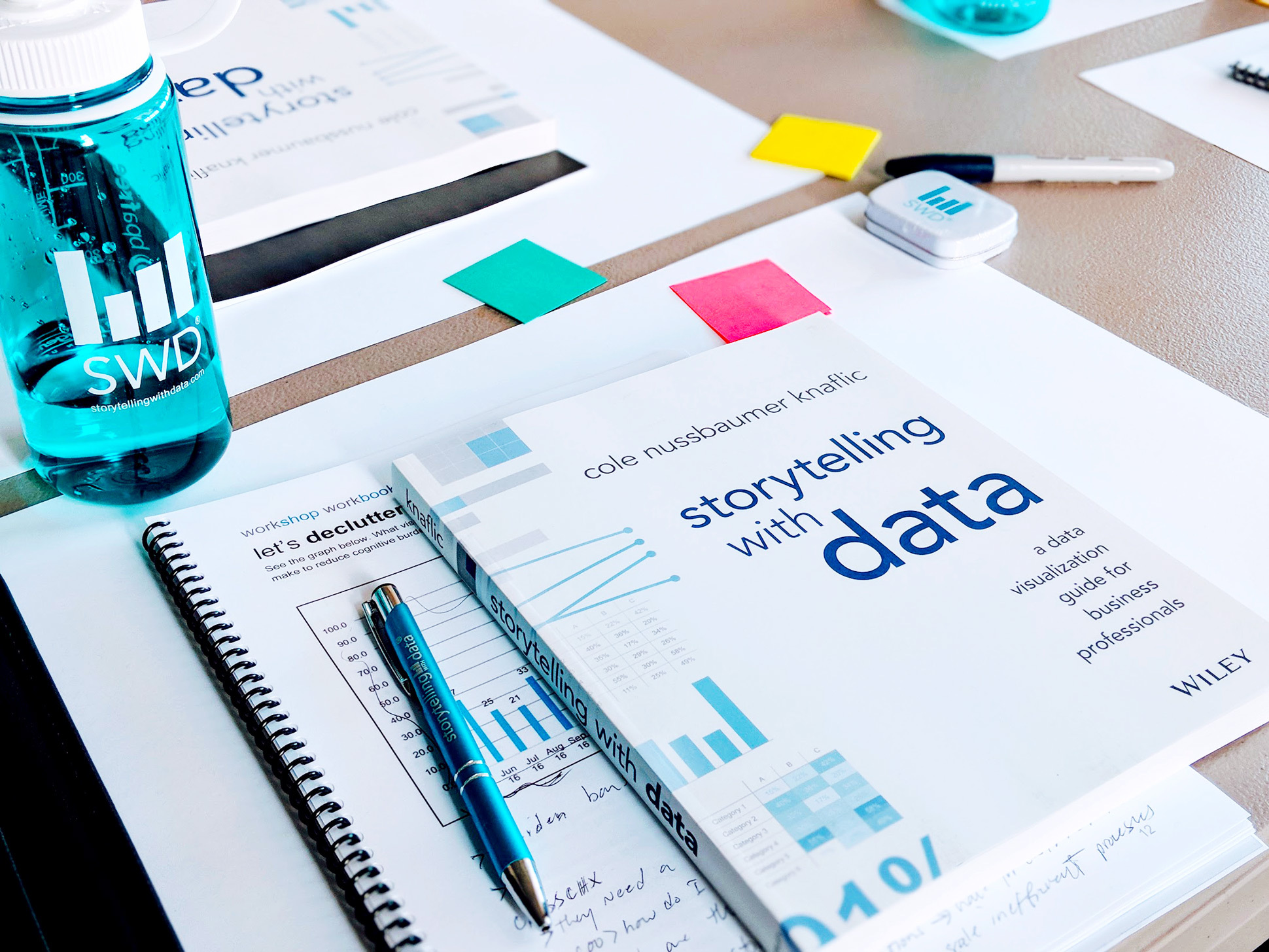 Storytelling with data book and swag.