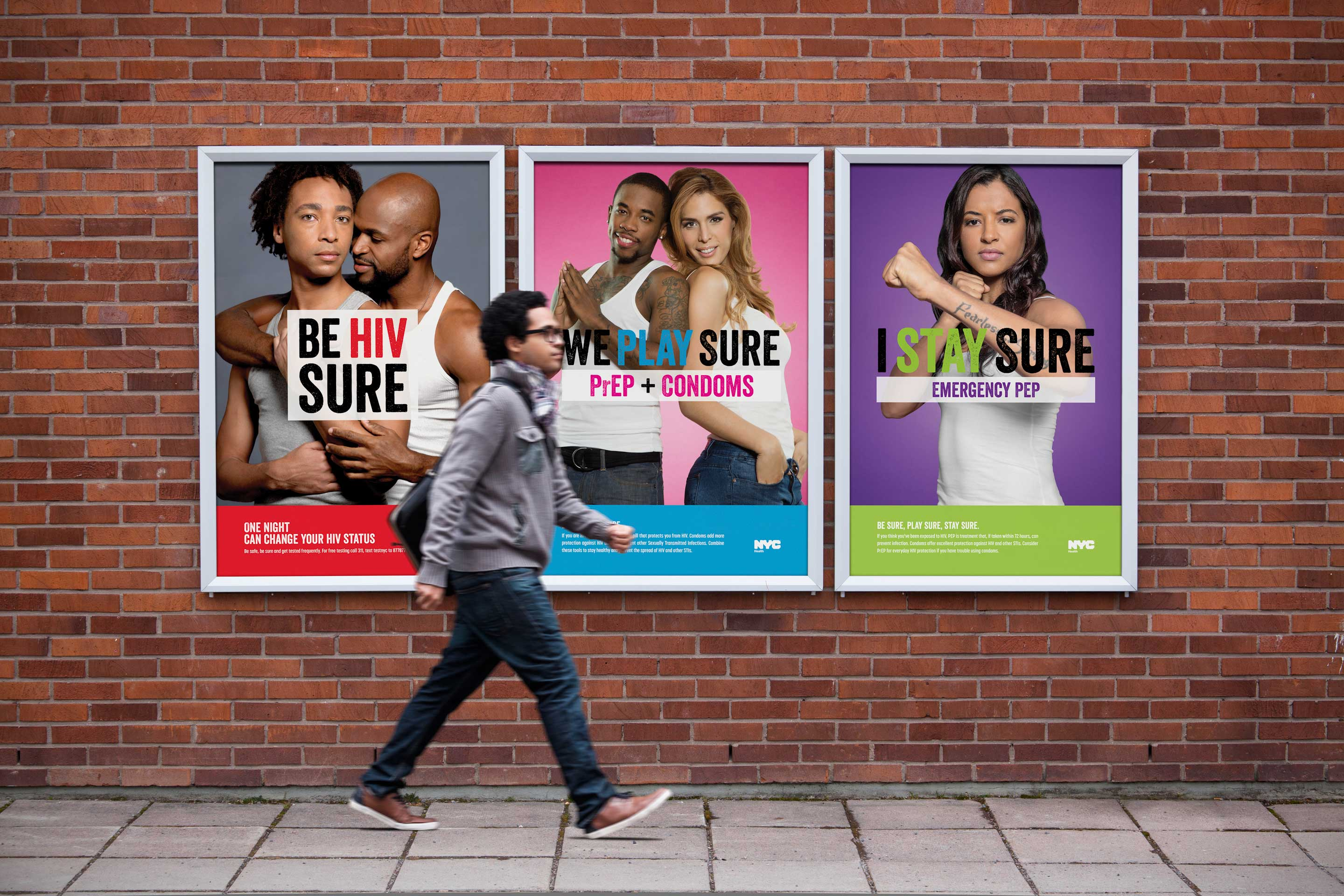 Three HIV Awareness billboard ads of confident couples and individuals for New York City's Play Sure campaign