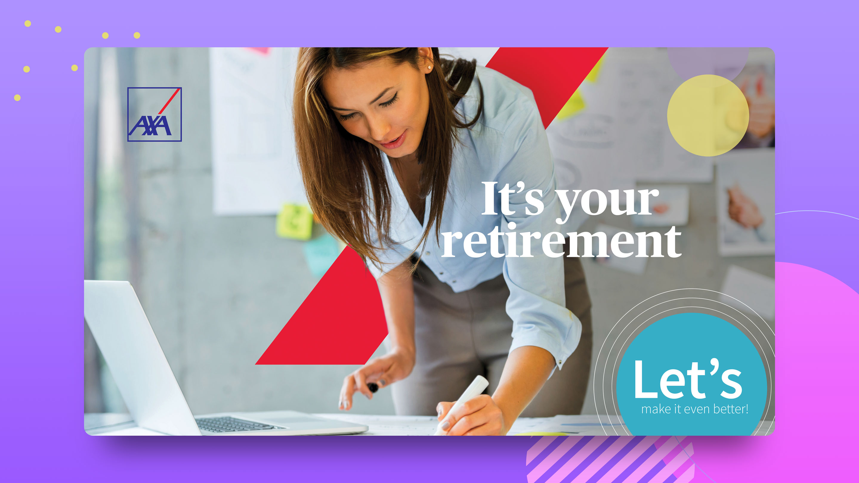 "AXA brochure cover that says ""It's your retirement. Let's make it better."" and shows an educator using a marker and a laptop"