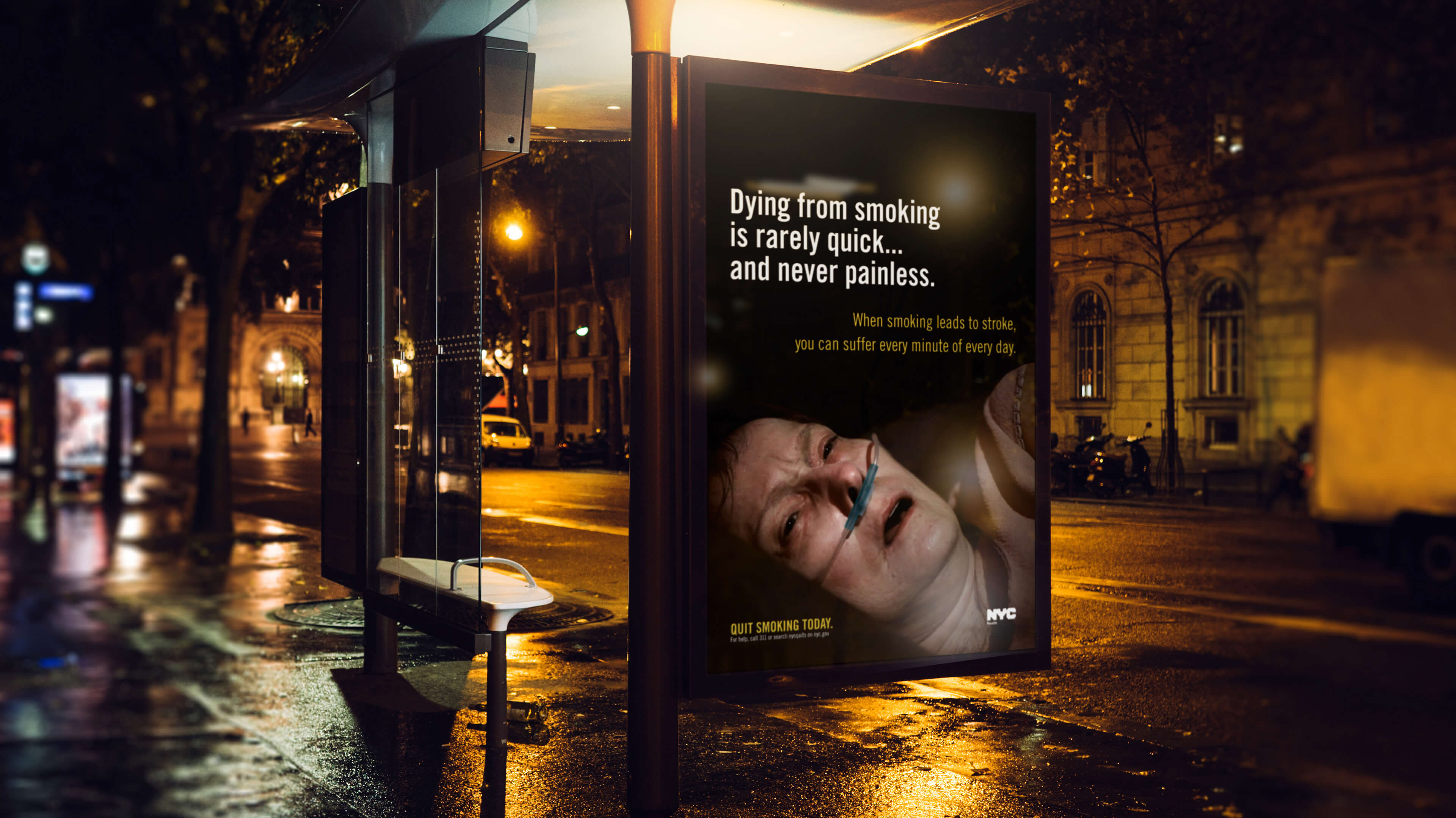 Bandujo NYC Department of Health Anti-Smoking Out of Home Advertising Bus Stop