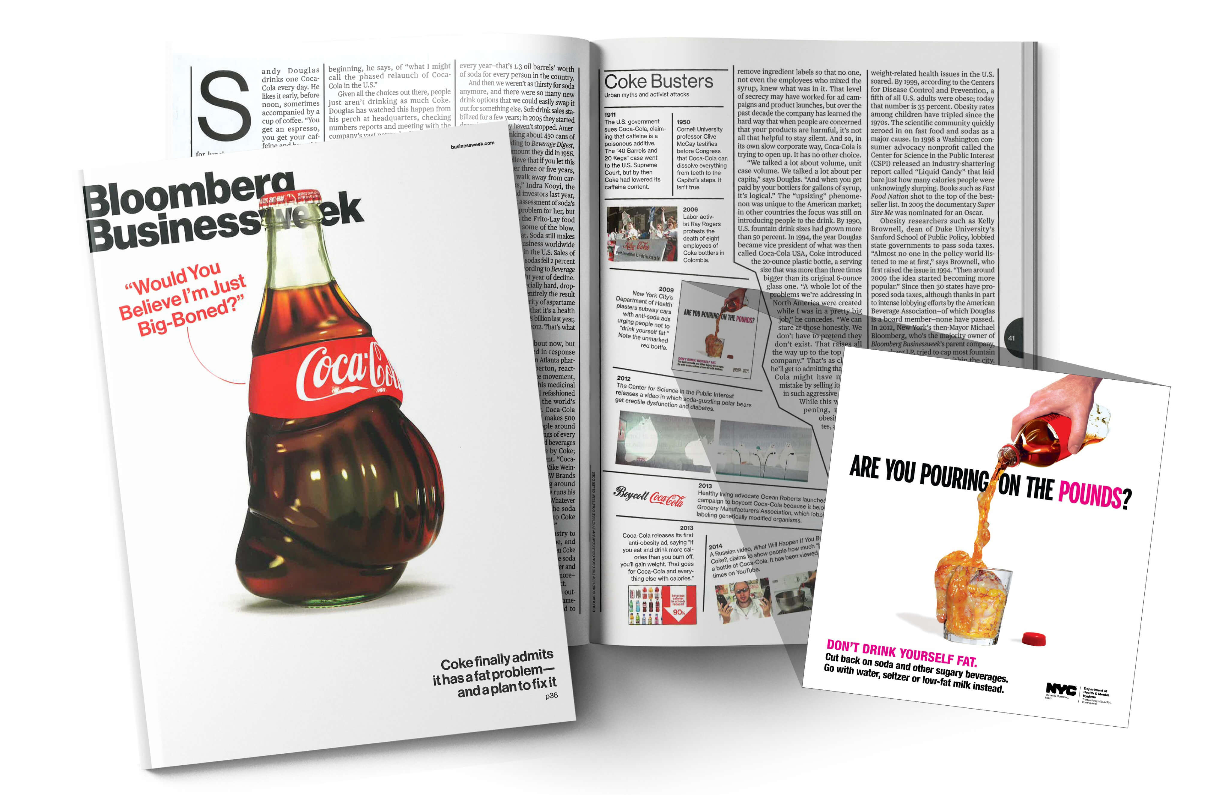 "Bloomberg Businessweek magazine cover of a obese Coca-Cola bottle that says ""Would you believe I'm just big-boned?"""