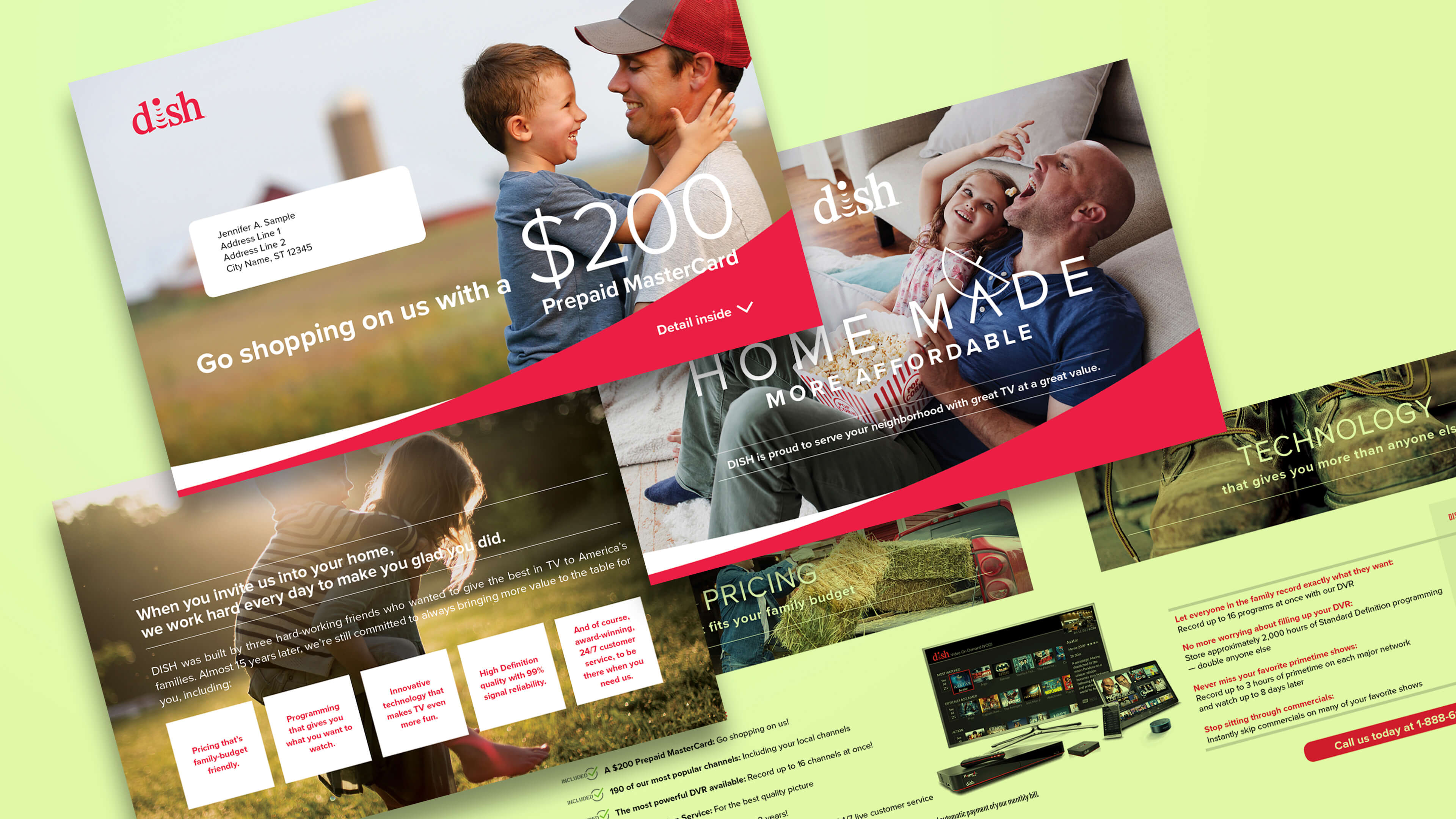 "A variety of DISH Network direct mail pieces for the ""Home Made"" campaign which targeted potential new customers"