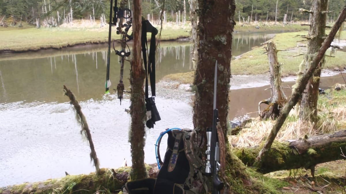 Bow and rifle leaning against tree in Alaska. Book an unguided Kodiak deer hunting trip with Deepstrike Sportfishing.