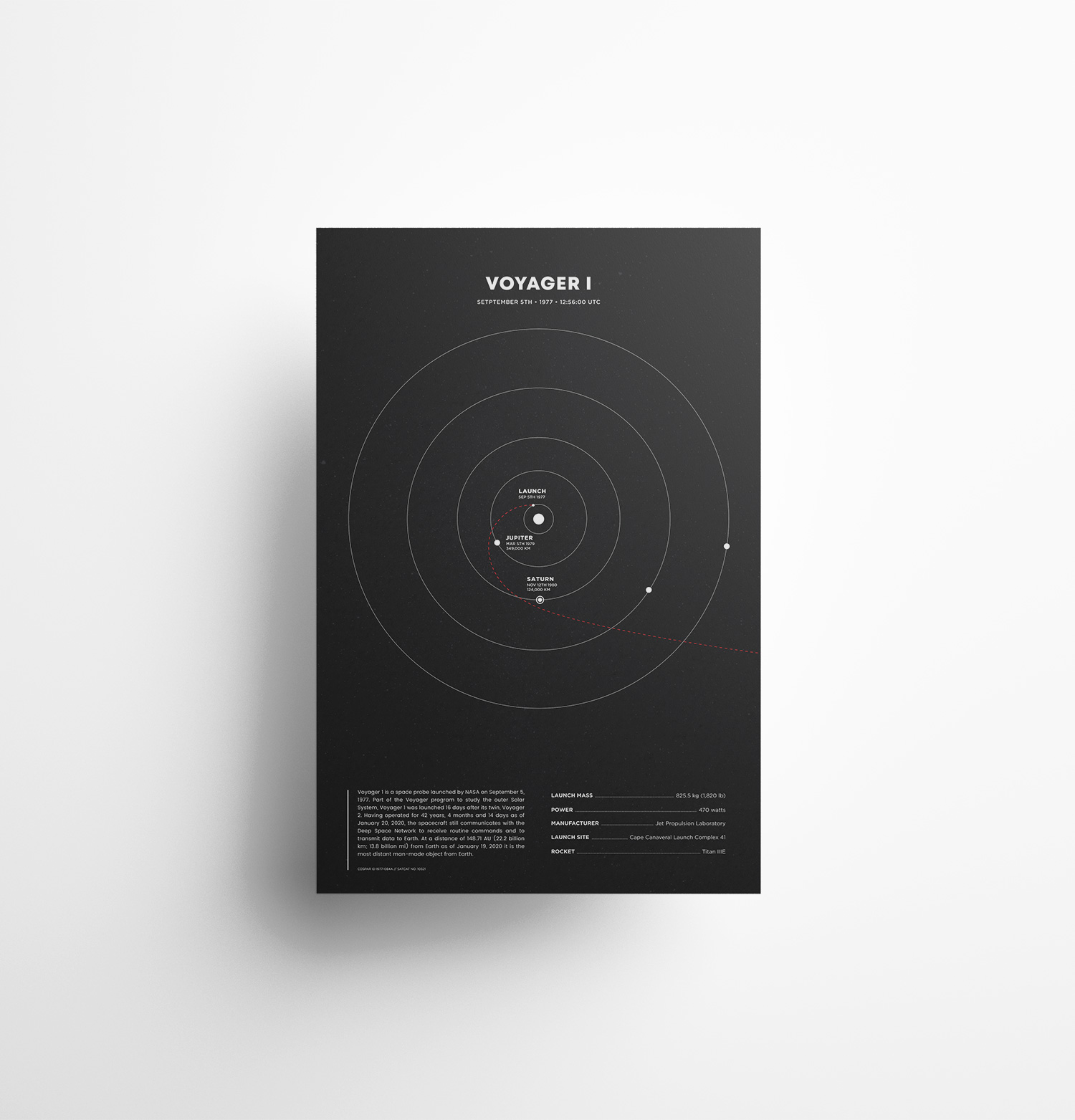 Voyager 1 Minimalist Space Poster