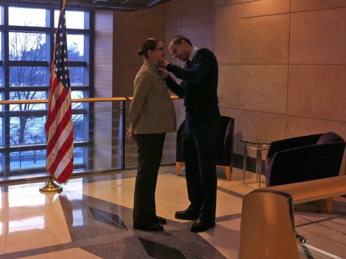 At the US Embassy in Canada, being promoted to Major.